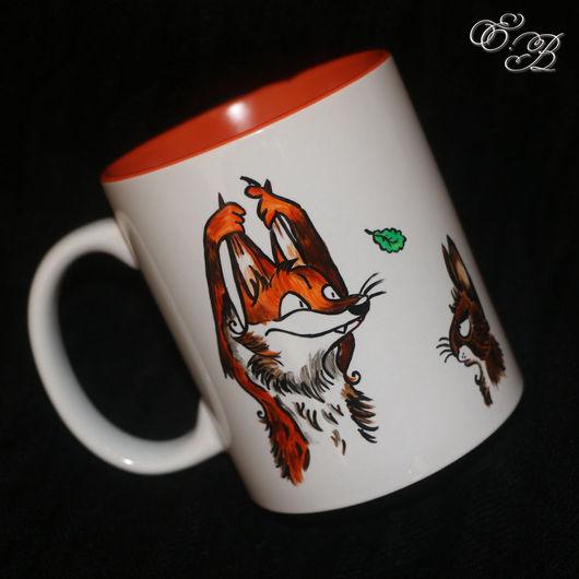 Кружки и чашки ручной работы. Ярмарка Мастеров - ручная работа. Купить Лисёнок и Заяц. Handmade. Лис, рыжий, оранжевый, skia