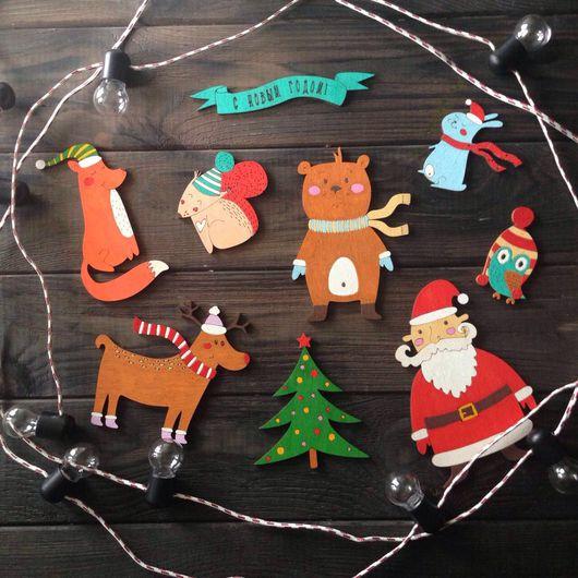 Новый год 2017 ручной работы. Ярмарка Мастеров - ручная работа. Купить Разноцветные Ёлочные игрушки из дерева. Handmade. Игрушки на елку
