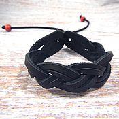 Украшения handmade. Livemaster - original item Leather Braided Bracelet Double Pigtail. Handmade.