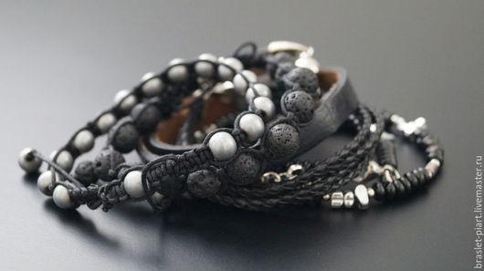 """Украшения для мужчин, ручной работы. Ярмарка Мастеров - ручная работа. Купить Комплект браслетов """" FreeStyle- BlackDim"""" .. Handmade. Черный"""