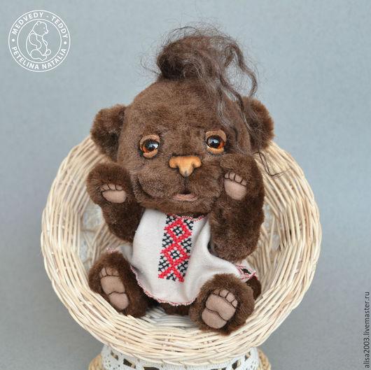 Мишки Тедди ручной работы. Ярмарка Мастеров - ручная работа. Купить Олесь. Handmade. Коричневый, сонный, рубашка, искусственная замша