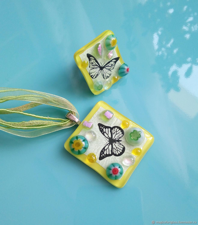 Fused Glass Jewelry set. Butterflies fluttering. Fused glass, Jewelry Sets, Khabarovsk,  Фото №1