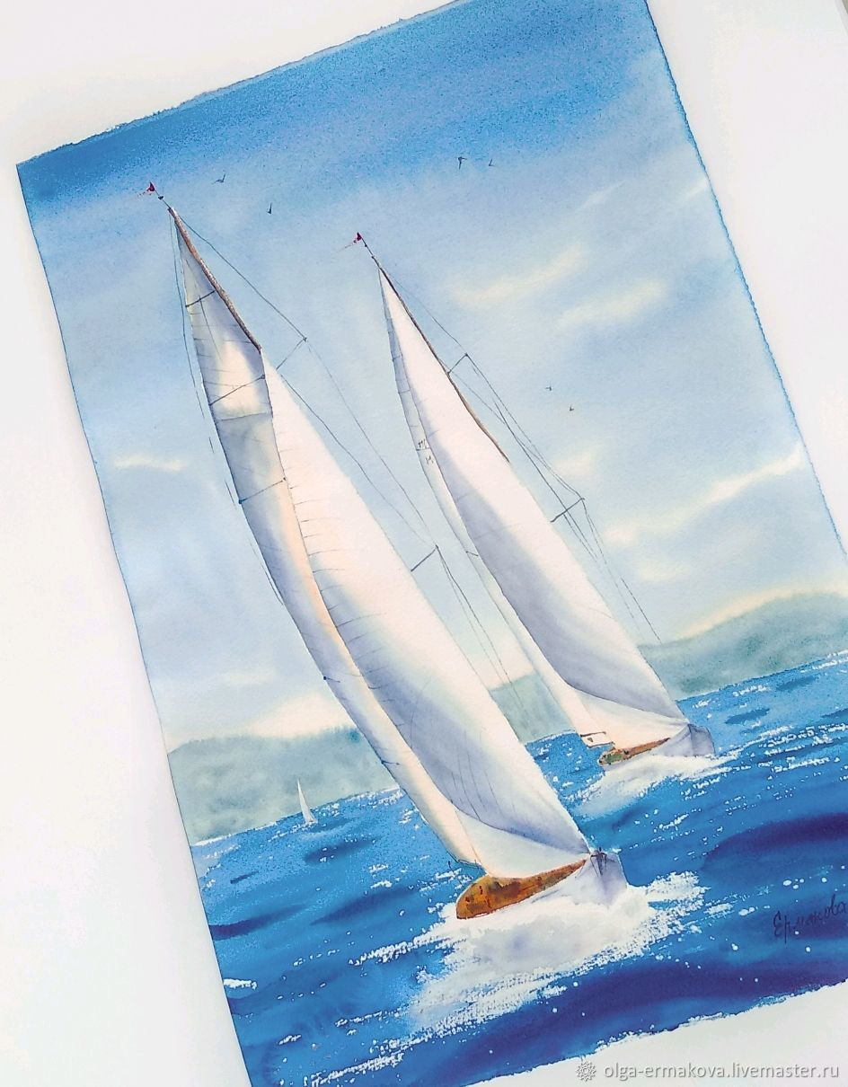 Picture of a yacht at sea. Painting with seascape and yachts, Home gadgets, Moscow,  Фото №1