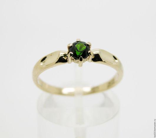 Кольца ручной работы. Ярмарка Мастеров - ручная работа. Купить Золотое кольцо с Хромдиопсидом Ф 4.1 мм.. Handmade.