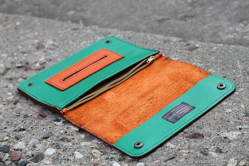 Combi leather tobacco pouch Green and orange, Wallets, Moscow,  Фото №1