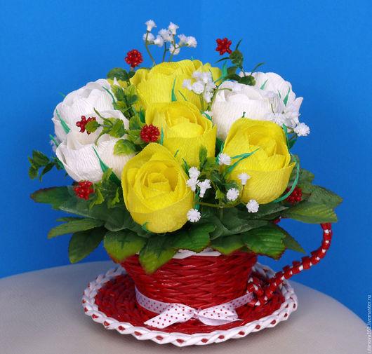 """Букеты ручной работы. Ярмарка Мастеров - ручная работа. Купить Букет из конфет """"Розы в кружке"""". Handmade. Комбинированный, шоколадный букет"""