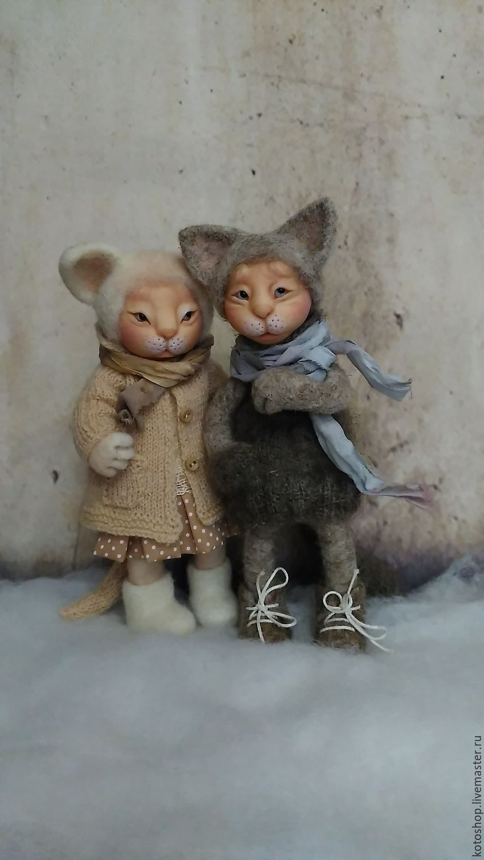 Коллекционные куклы ручной работы. Ярмарка Мастеров - ручная работа. Купить Миуко и Кикото Окотава. Handmade. Кот, любителям кошек