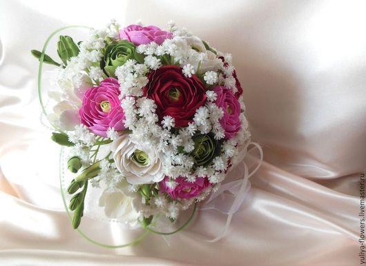 Свадебные цветы ручной работы. Ярмарка Мастеров - ручная работа. Купить Букет невесты из ранункулюсов. Handmade. Разноцветный, красные цветы