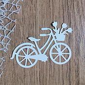 Материалы для творчества handmade. Livemaster - original item !Cutting for scrapbooking - BICYCLE with basket and flowers, diz card. Handmade.