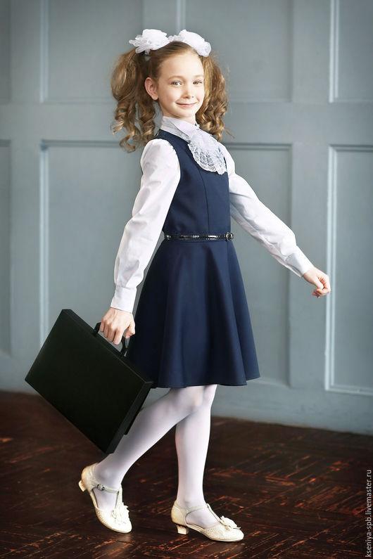 Одежда для девочек, ручной работы. Ярмарка Мастеров - ручная работа. Купить Школьный сарафан для девочки синий/черный (Арт. 96). Handmade.