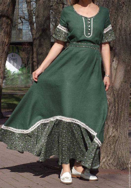 Платья ручной работы. Ярмарка Мастеров - ручная работа. Купить платье Розалия (зеленое). Handmade. Зеленый, русский стиль