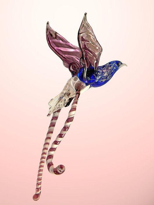 Элементы интерьера ручной работы. Ярмарка Мастеров - ручная работа. Купить Интерьерное подвесное украшение из цветного стекла птица Лирахвост. Handmade.