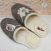 """Обувь ручной работы. Ярмарка Мастеров - ручная работа Тапочки валяные, войлочные ,из шерсти.""""Мумми-троли"""". Handmade."""