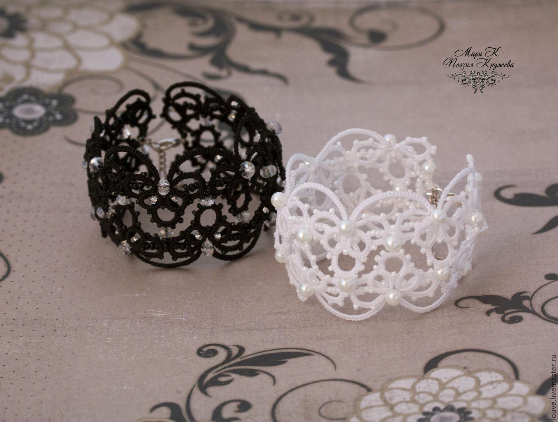 Wide lace bracelet tatting white black e, Bead bracelet, Novosibirsk,  Фото №1