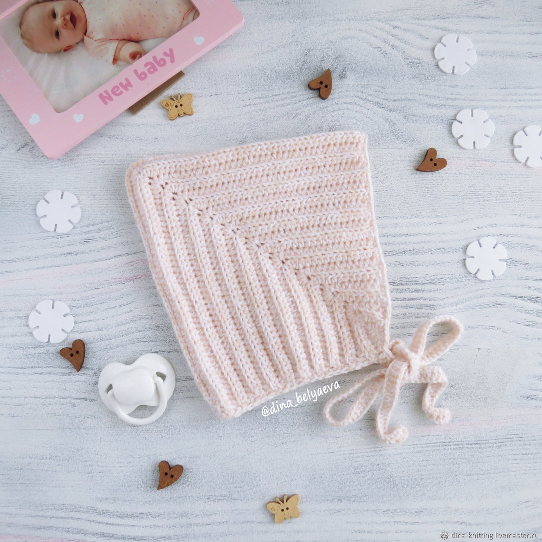 Knitted baby hat for girls warm milk, Caps, Cheboksary,  Фото №1