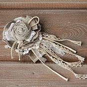 Украшения ручной работы. Ярмарка Мастеров - ручная работа Брошь из ткани брошь цветок текстильная брошь бохо лен. Handmade.
