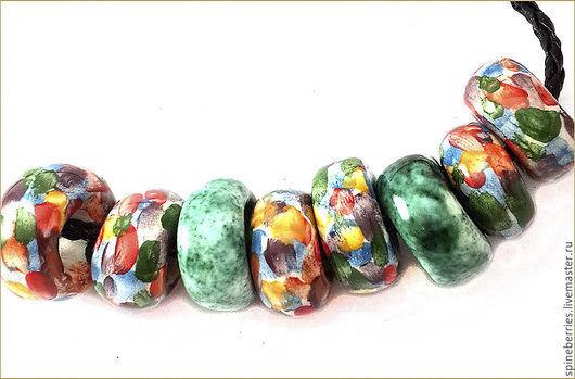 """Для украшений ручной работы. Ярмарка Мастеров - ручная работа. Купить Бусины керамические """"Осень"""". Handmade. Разноцветный, бусины осенние"""