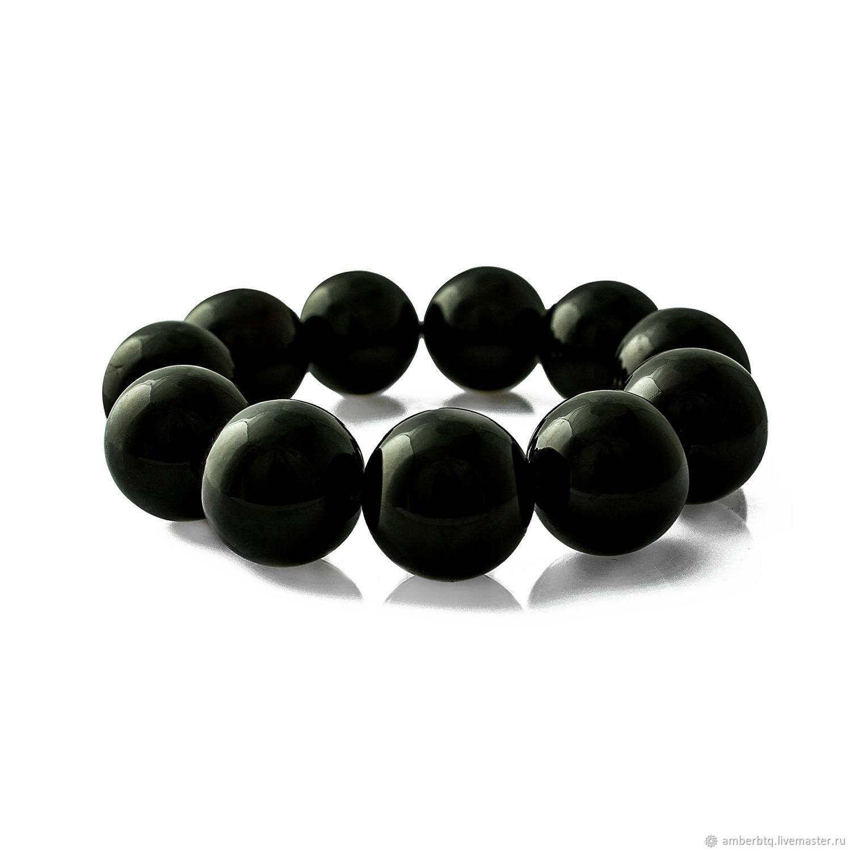 Amber bracelet 18 cm cherry (18 mm) with elastic band, Bead bracelet, Kaliningrad,  Фото №1