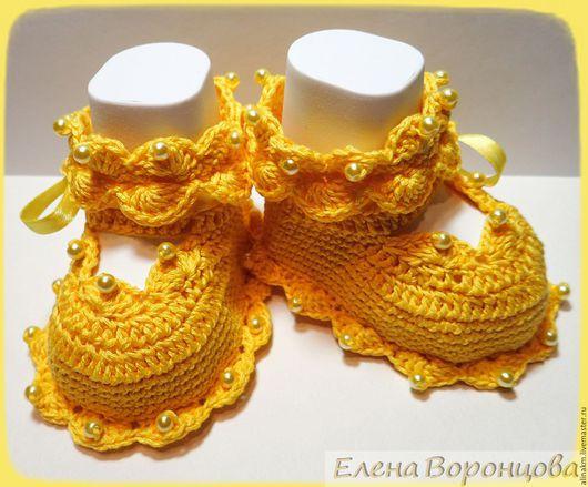 """Для новорожденных, ручной работы. Ярмарка Мастеров - ручная работа. Купить Пинетки """"Зефирки"""". Handmade. Желтый, пинетки для новорожденных"""