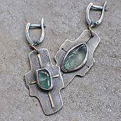 handmade. Livemaster - original item Earrings with beryl, silver and brass. Handmade.