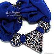 Украшения handmade. Livemaster - original item necklace from polymer clay in shades of blue filigree (388). Handmade.
