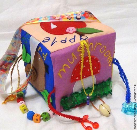 """Развивающие игрушки ручной работы. Ярмарка Мастеров - ручная работа. Купить Развивающий кубик """"English"""". Handmade. Развивающий кубик, развивашка"""
