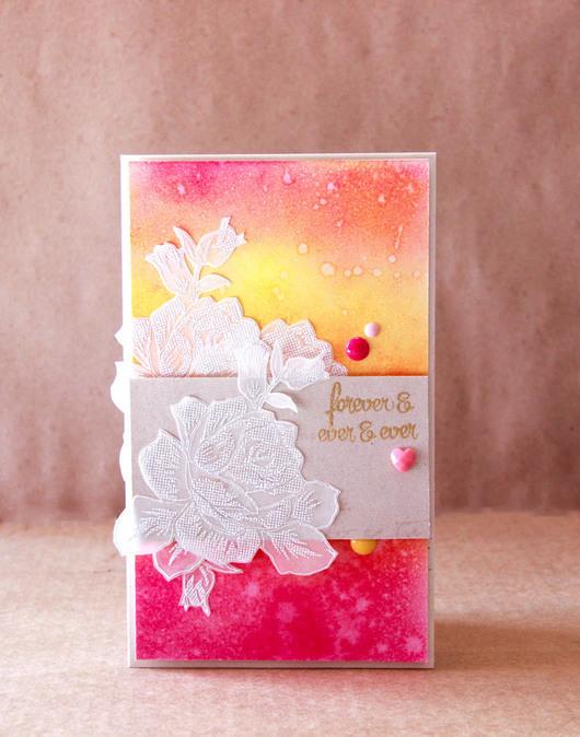 Конверты для денег ручной работы. Ярмарка Мастеров - ручная работа. Купить Яркая свадебная открытка (конверт) с розами. Handmade. Разноцветный
