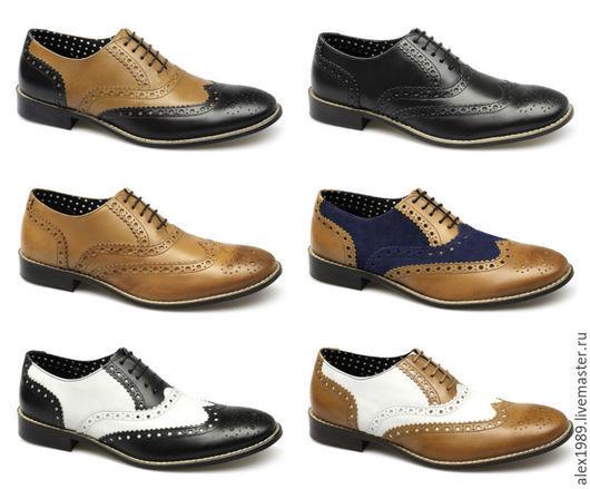 Обувь ручной работы. Ярмарка Мастеров - ручная работа. Купить Мужские Броуги. Handmade. Разноцветный, туфли, летняя мужская обувь