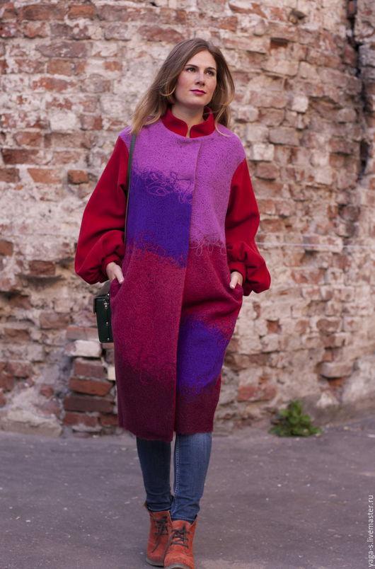 Верхняя одежда ручной работы. Ярмарка Мастеров - ручная работа. Купить Пальто «Орхидея». Handmade. Разноцветный, пальто женское