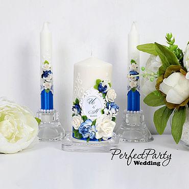 """Свадебный салон ручной работы. Ярмарка Мастеров - ручная работа Семейный очаг """"Цветочный"""" синий цвет. Handmade."""