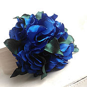 Украшения handmade. Livemaster - original item Brooch hair clip with fabric flower. Large bright blue flower.. Handmade.