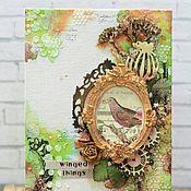 """Картины и панно ручной работы. Ярмарка Мастеров - ручная работа Панно """"Птица в рамке"""". Handmade."""