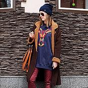 Одежда ручной работы. Ярмарка Мастеров - ручная работа Пальто вязаное двухцветное bicolor. Handmade.