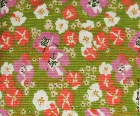 Шитье ручной работы. Ярмарка Мастеров - ручная работа. Купить Ткань вельвет х/б с цветочками на зелёном фоне.. Handmade.