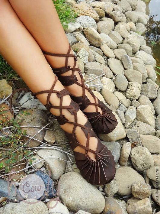"""Обувь ручной работы. Ярмарка Мастеров - ручная работа. Купить Коричневые кожаные сандалии """"Crazy Horse"""". Handmade. Коричневый"""