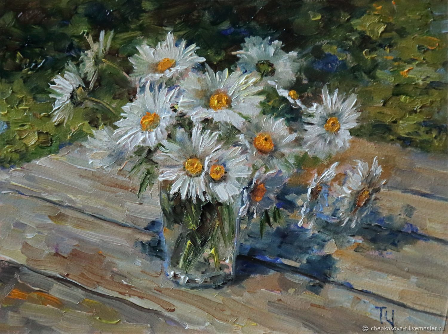Miniature ' Daisies'. Oil painting, Pictures, Moscow,  Фото №1