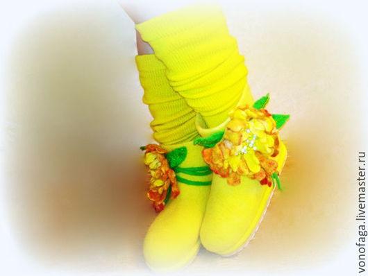 Обувь ручной работы. Ярмарка Мастеров - ручная работа. Купить Валенки.. Handmade. Желтый, обувь ручной работы, шерсть для валяния