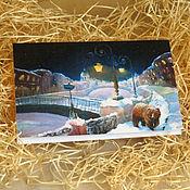 Открытки handmade. Livemaster - original item Bear and city Postcard. Handmade.