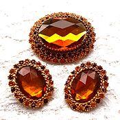 Винтаж handmade. Livemaster - original item Set Autumn paint, Alice Caviness, USA, brooch, clips, amber color. Handmade.