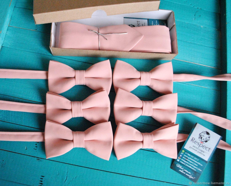 Свадебный галстук жениха купить в комплекте с галстук бабочками для друзей жениха оптом для свадьбы в нежно розовом цвете, пионовой свадьбы, пудровой свадьбы или кремовой свадьбы в Москве.