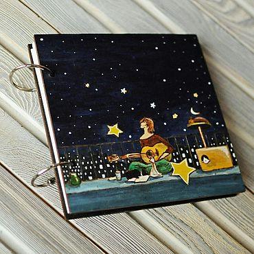 "Stationery handmade. Livemaster - original item Sketchbook wood cover 16x16sm ""The evening of August"". Handmade."