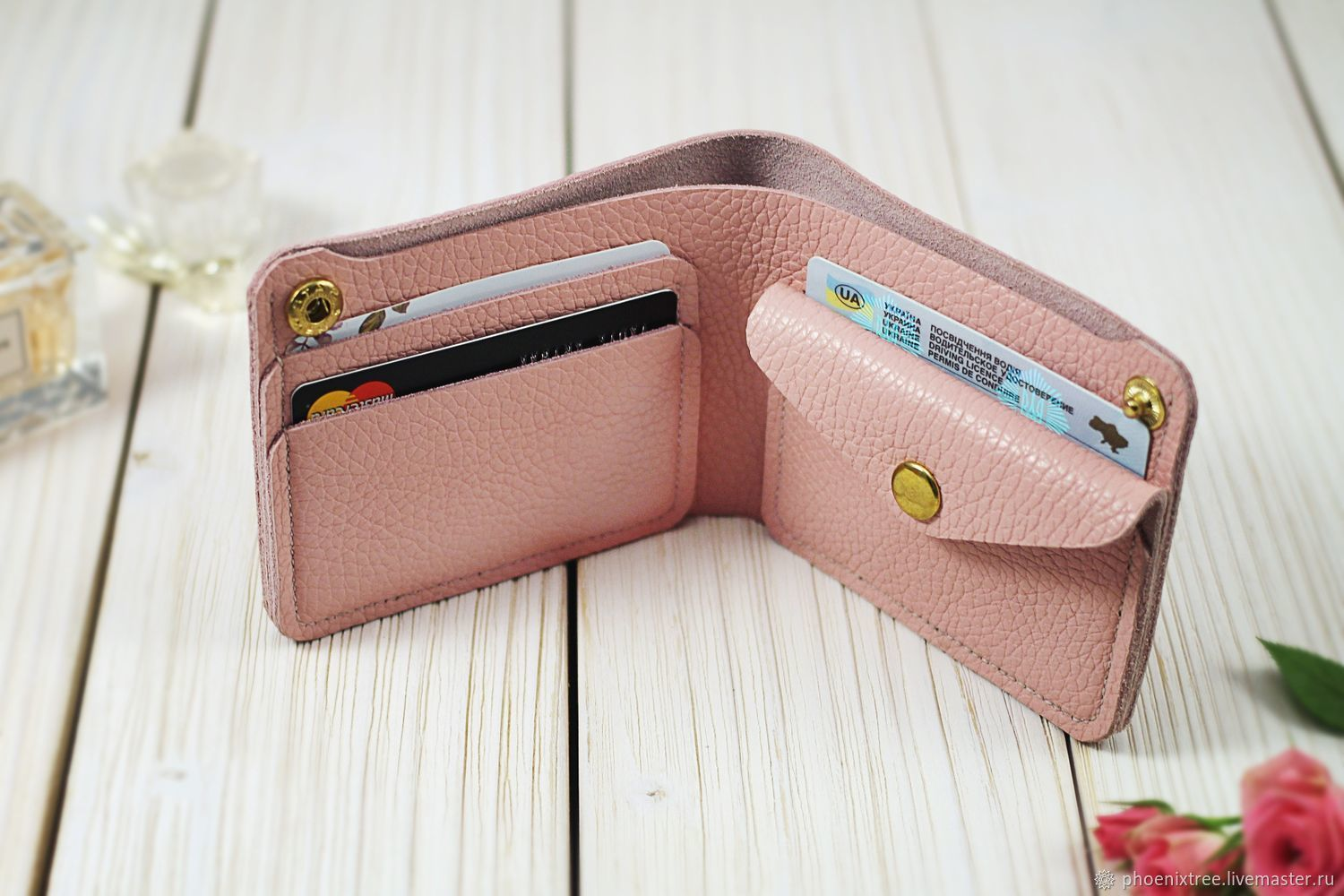 Leather ladies wallet, pink – shop online on Livemaster with ...