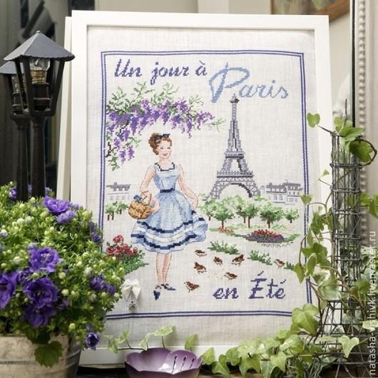 Вышивка ручной работы. Ярмарка Мастеров - ручная работа. Купить «Летний день в Париже» для вышивания крестом. Handmade. Разноцветный, лен