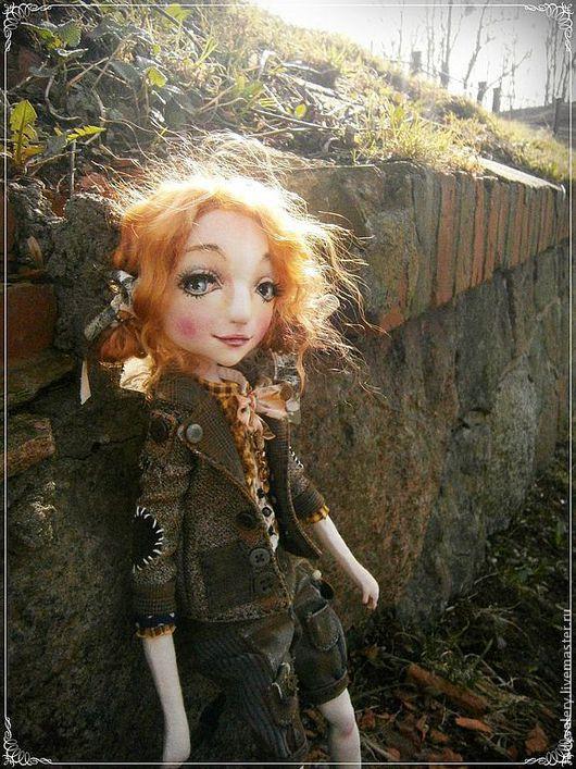 Коллекционные куклы ручной работы. Ярмарка Мастеров - ручная работа. Купить Нелли. Текстильная кукла. Handmade. Коричневый, кукла интерьерная