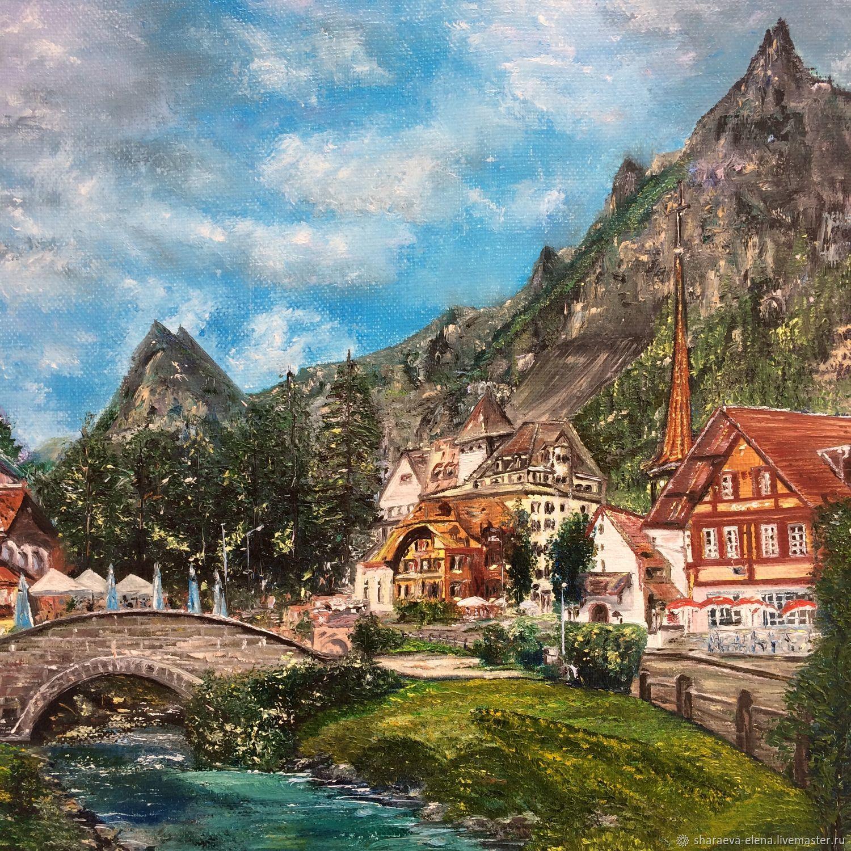 Картина маслом Великолепная Швейцария на фоне гор.Картина пейзаж – купить на Ярмарке Мастеров – KSAEORU | Картины, Чита