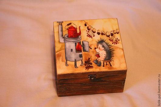 """Корзины, коробы ручной работы. Ярмарка Мастеров - ручная работа. Купить Шкатулка для чая """"Время чая!"""". Handmade. Разноцветный"""