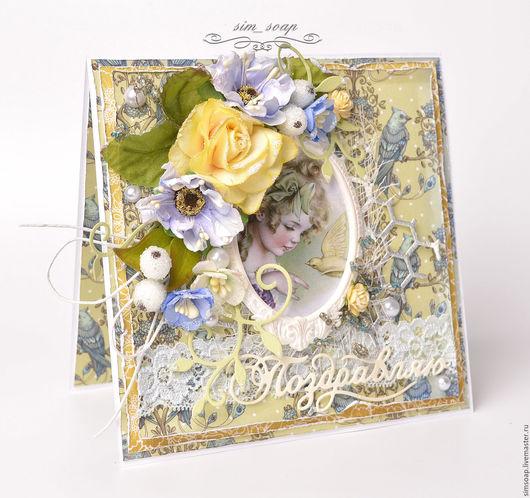Открытки для женщин, ручной работы. Ярмарка Мастеров - ручная работа. Купить Поздравительная открытка. Handmade. Желтый, поздравительная, птицы, голубой