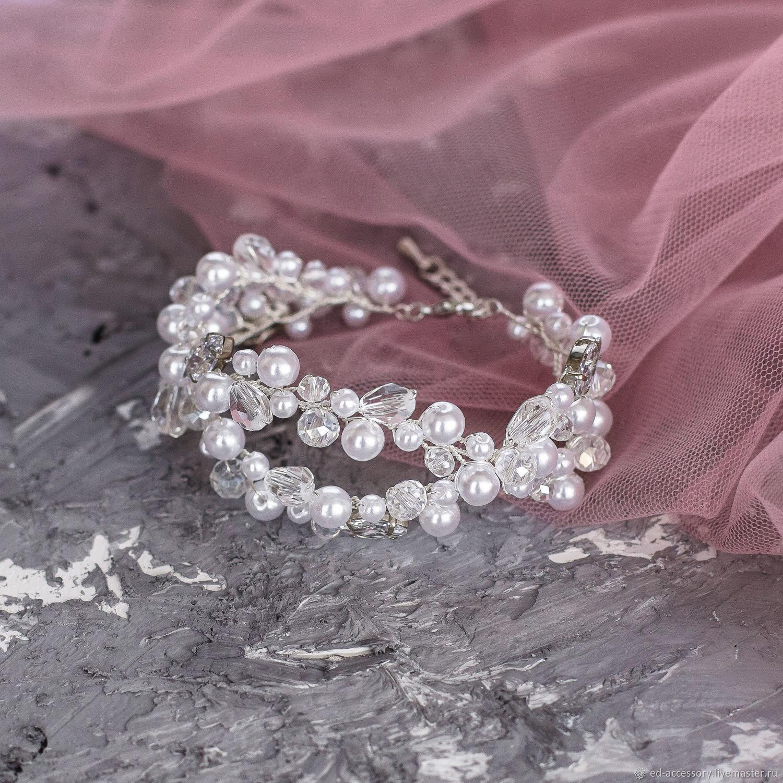 Браслет невесты широкий с жемчугом и фианитами, Браслеты, Барнаул,  Фото №1