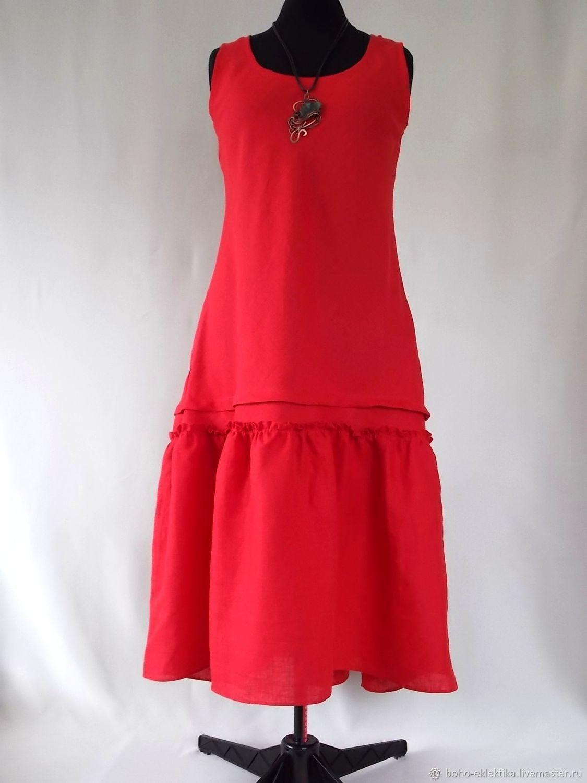 Dress linen, red. Sleeveless dress, Dresses, Tomsk,  Фото №1