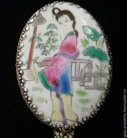Винтажные предметы интерьера. Ярмарка Мастеров - ручная работа. Купить Антикварное ручное зеркало Девочка-гейша, Япония, винтаж, антиквариат. Handmade.
